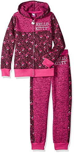 Hello Kitty Toddler Girls' 2 Piece Hooded Fleece Active Set, Pink/Black, 3T