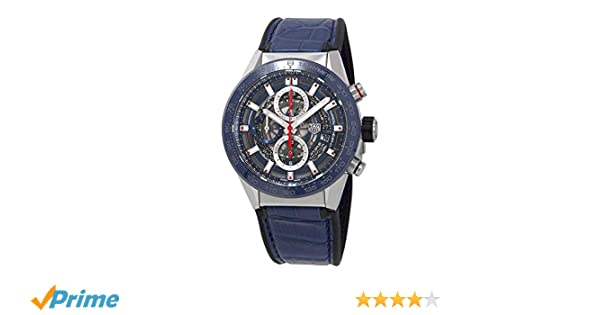 Amazon.com: Tag Heuer Carrera Blue Skeleton Dial Automatic Mens Watch CAR201T.FC6406: Watches