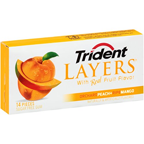 Trident Layers Orchard Peach and Ripe Mango, 14-Count 14k Peach