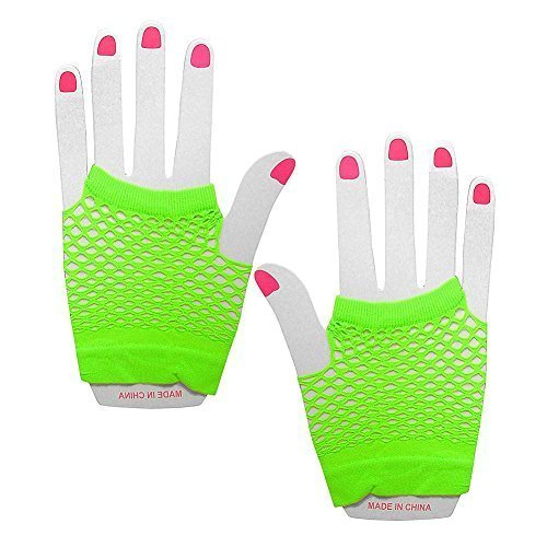 Blue Banana Women's Pair Of Short Fishnet Gloves One Size Green