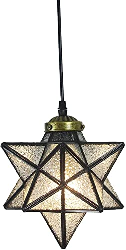 Crystal Star Pendant Light Retro Style Lamp Shade Chandelier 8'' Ceiling Hanging Droplight