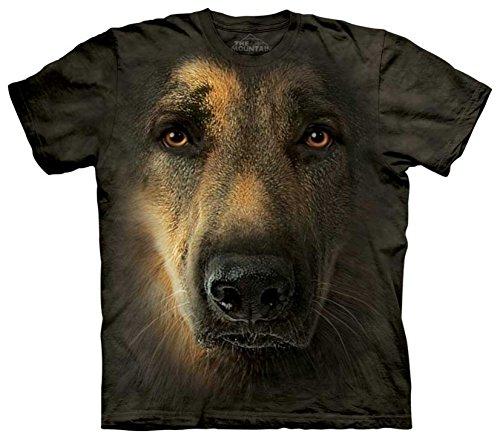 Mountain German Shepherd Portrait Adult Size T-shirt , Brown , Large (German Shepherd Portrait)