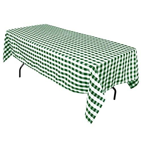 LinenTablecloth 60 x 102-Inch Rectangular Tablecloth Green & White Checker (Green Table Rectangular Picnic)