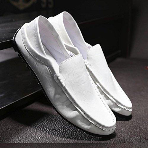 Tiean Hommes Souple En Cuir Respirant Mode Trim Plat Conduite Casual Slip Sur Chaussures Blanc