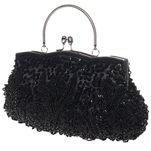BaoLan Clutch Womens For Lock Clutch amp; Kissing Vintage Wedding Purses Sequined Black Party Evening rpn6rxqwC