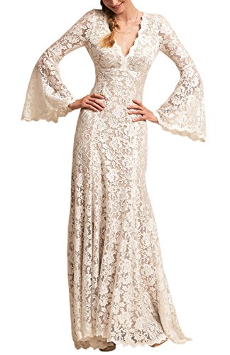 Long Bell Sleeve V Neck Vintage Lace Wedding Dress Bridal Gown Ivory (Bell Sleeves Lace Costume)