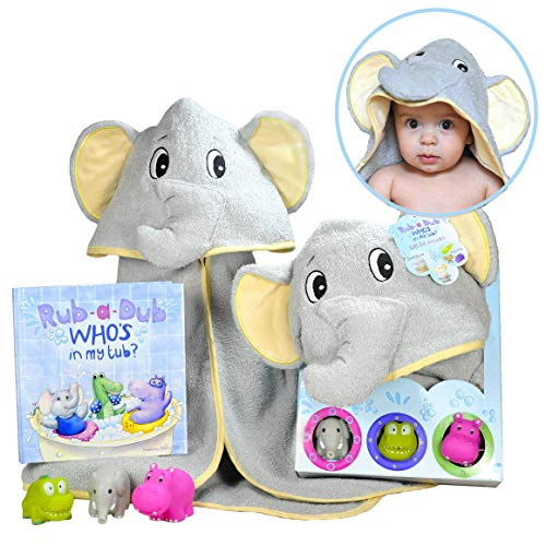 Baby Gift Set- Rub A Dub, Who's in My Tub – 5 Piece Bath Set Includes Elephant Hooded Towel, 3 Jungle Safari Squirt Toys…