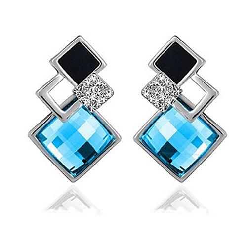 fonk: Koren Austrian Crystal Earrings Elegant Geometric Square Rhinestone Stud Earrings Brincos