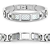 Mason Dunn Green Sapphire Titanium Bracelet with Silver Plated Steel Inlay