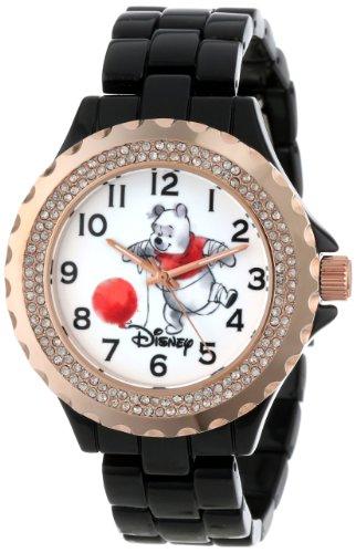 Disney Women 's w000996Winnie negro y oro rosa esmalte reloj