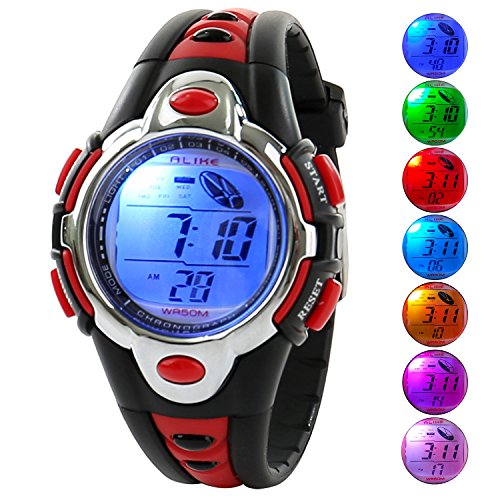 Kid Watch Multi Function Digital LED Sport 50M Waterproof Electronic Digital Watches for Boy Girl Children Gift Red