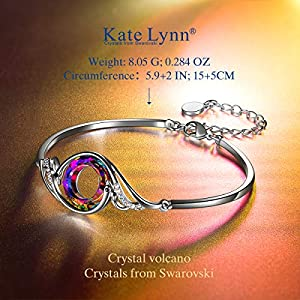 Kate Lynn, The Nirvana of Phoenix, Bangle/Bracelet, Crystal from Swarovski, Metal Rhodium, Original Design, Symbolizing Luck and Renewal, Jewellery Box Packaging, 18 cm