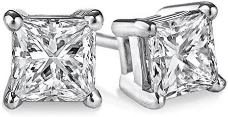 PARIKHS (IGI Certified 0.70ct &up) Princess cut Diamond stud 14K from 0.04ct to 2.00ct Clarity-I3-I4