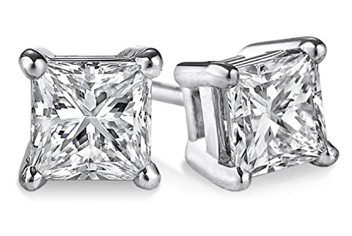 PARIKHS Princess cut Diamond stud Popular Quality 14k White Gold (0.15ctw, Clarity-I2) (Ct 0.075 Diamond)