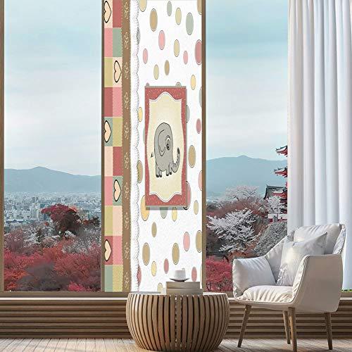 YOLIYANA Privacy Window Film Decorative,Elephant Nursery Decor,for Glass Non-Adhesive,Vintage Romantic Composition Playful Kids Childish Drawing Hearts,24''x78''