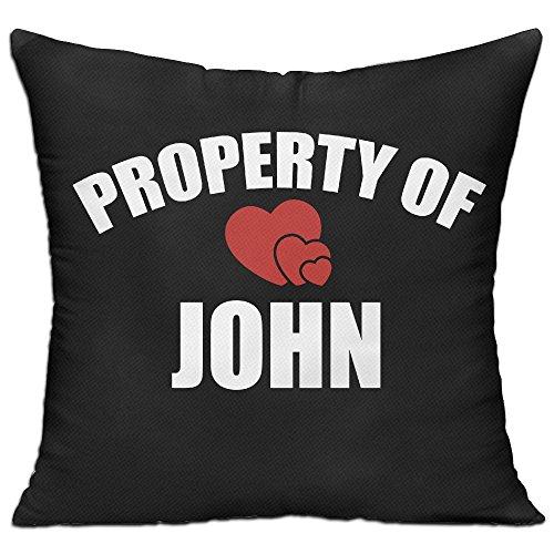 CY STORE Property Of John Square Cotton Linen Sofa Cushion Covers Decorative Home Zippered Custom Throw Pillow 18 X 18 Inch(contain Pillow - Pillow John Cotton