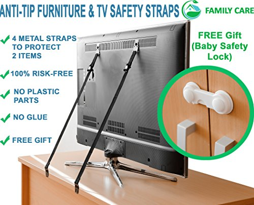 METAL Anti Tip Furniture Kit, TV Safety Straps For Flat Screens, 4 PACK BLACK Furniture Anchors For Baby Proofing, Mounting - Eartquake Straps, Straps For TV, Child Proof Childproof Television Antitip by FamilyCare (Image #3)