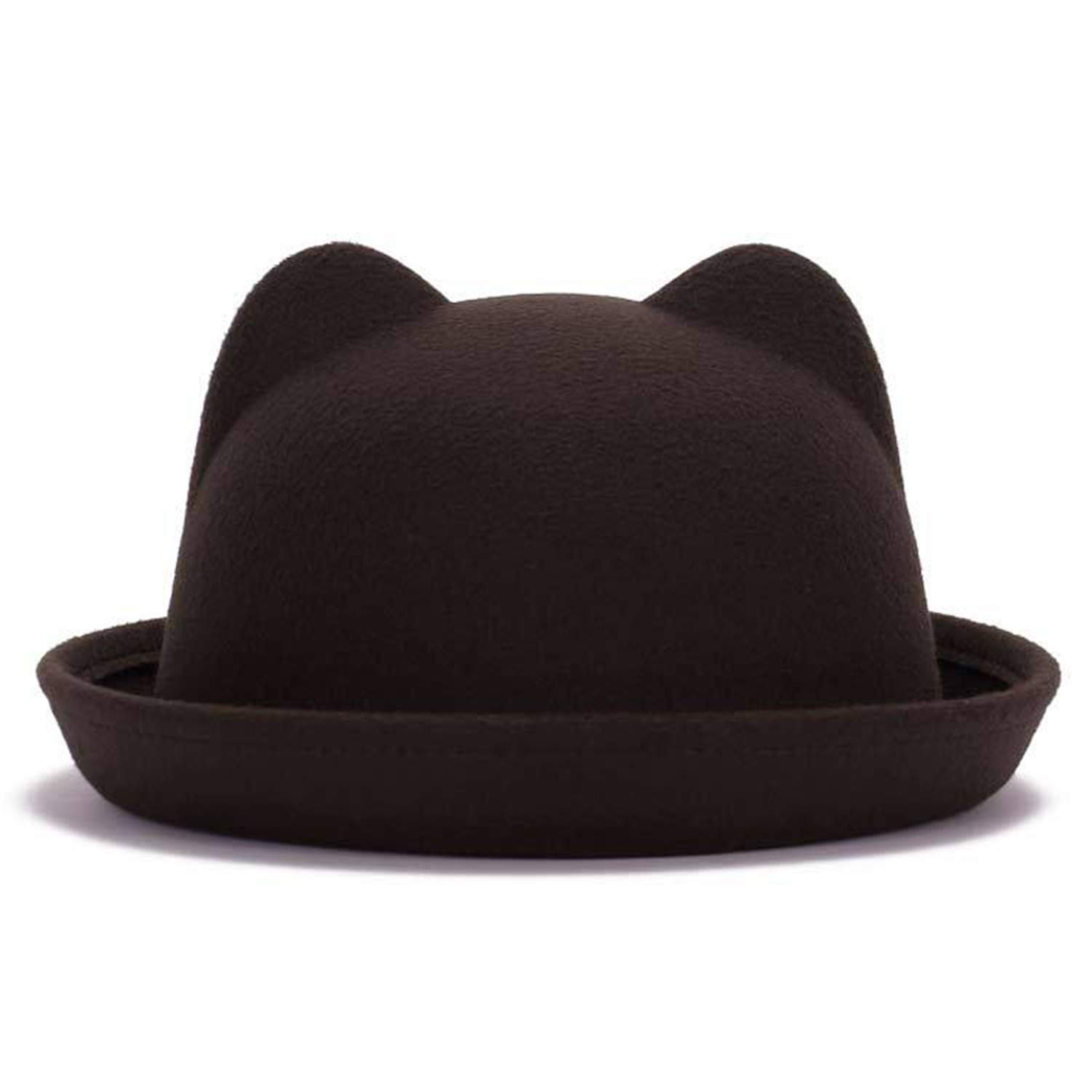 Women fedoras dome hats wool warm soft stingy brim bucket cat ears hat  brown at amazon 73d1f0f0f21b