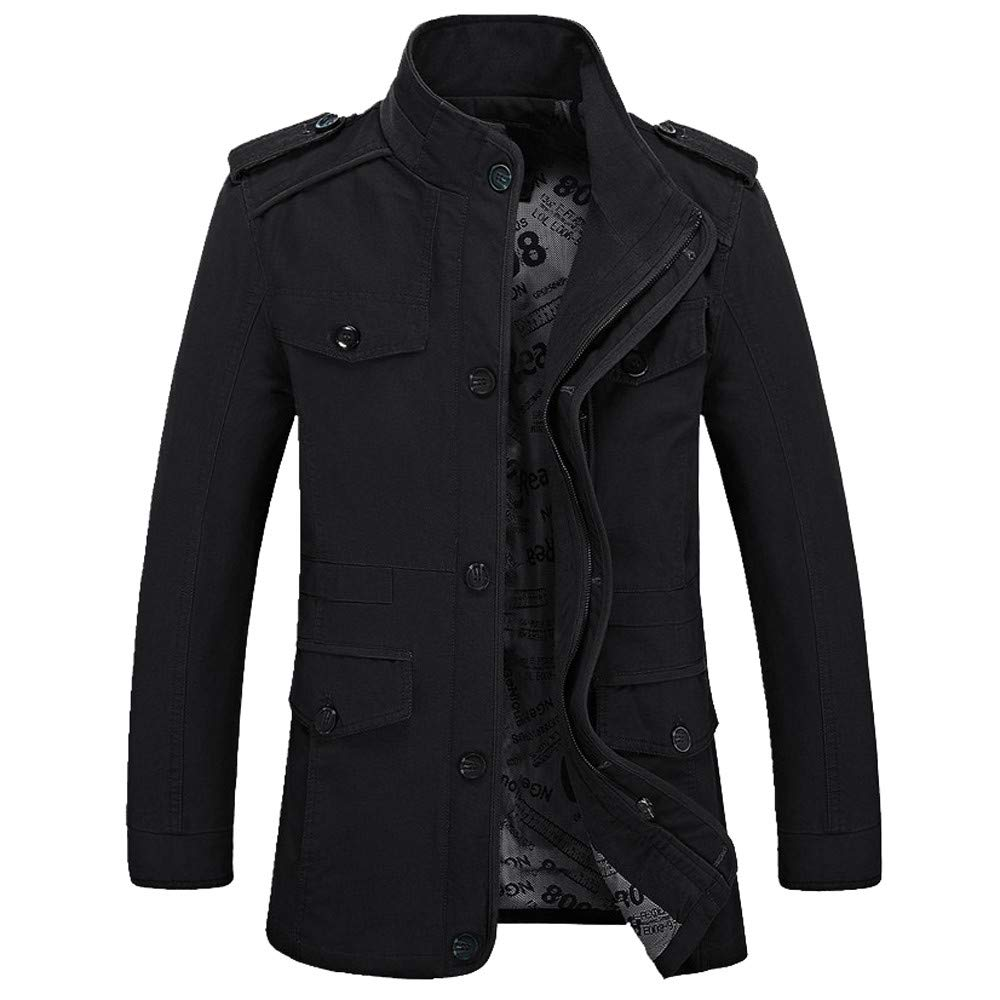 Yutao Mens Outerwear Fashion Jacket Cotton-Padded Slim Long Trench Zipper Coat