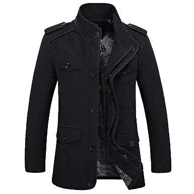 73ac8c1fe6 Hanomes Herren Jacke,Herren Winter Warme Mode Einfarbig Mantel Casual  Pilotenjacke Lose Sweatshirt 2 in 1 Reißverschluss Knopf Funktionsjacke:  Amazon.de: ...