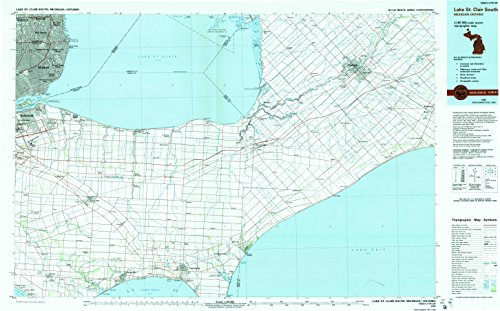 Lake St Clair South MI topo map, 1:100000 scale, 30 X 60 Minute, Historical, 1985, updated 1991, 24.1 x 38.7 IN - - Woods Map Of Harper Mi