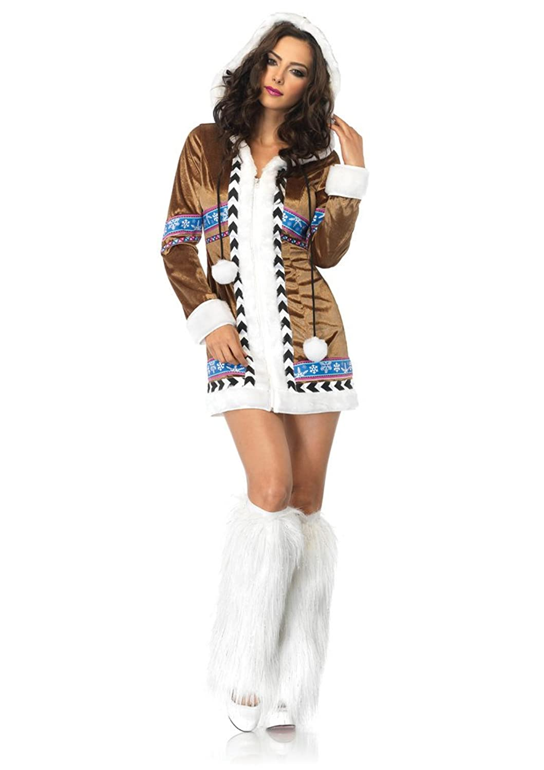 Leg Avenue Women's Igloo Cutie Costume Halloween plush trimmed zipper front hooded dress with parka print detail and pom pom ties