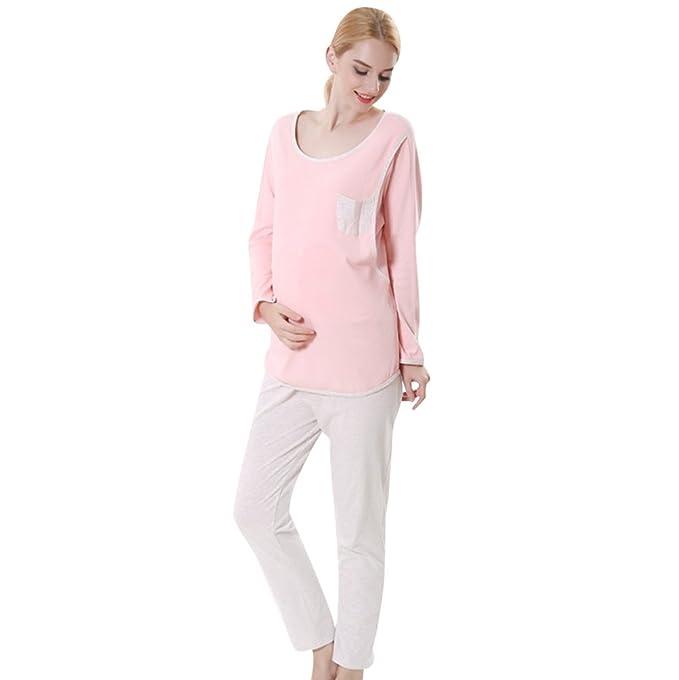 YAANCUN Cómodo Pijamas para Mujer Embarazada de Color Sólido Maternidad Conjunto de Ropa de Casa Otoño