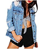 Coolred-Women Long Sleeve Ripped Distressed Hip Hop Loose Denim Jackets Light Blue XL