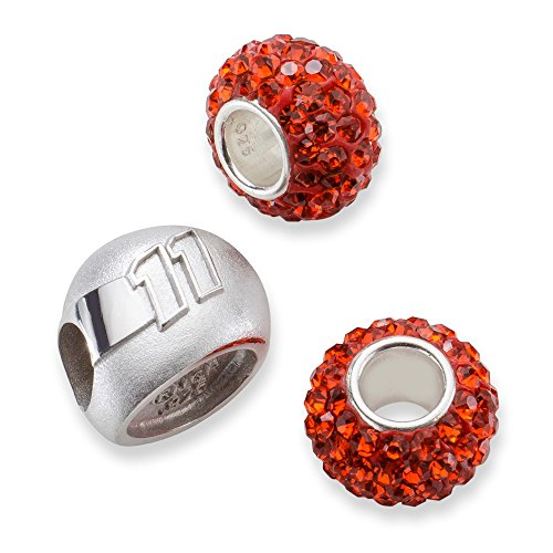 Sterling Silver TWO ORANGE CRYSTAL BEADS W/11 3D DRIVER HELMET BEAD by Security Jewelers