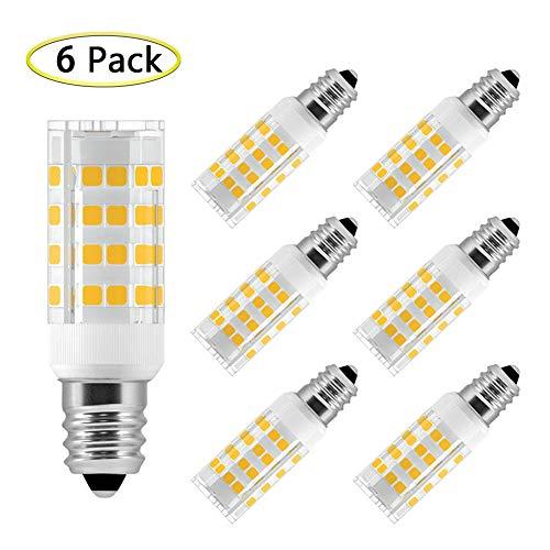- E12 LED Bulb 5W Equivalent to 40W Halogen Bulb, T3/T4 E12 Candelabra Base, Mini E12 LED Light Bulbs Warm White 3000K for Ceiling Fan, Chandelier, Home Lighting, AC 110V 120V 130V (6 Pack)