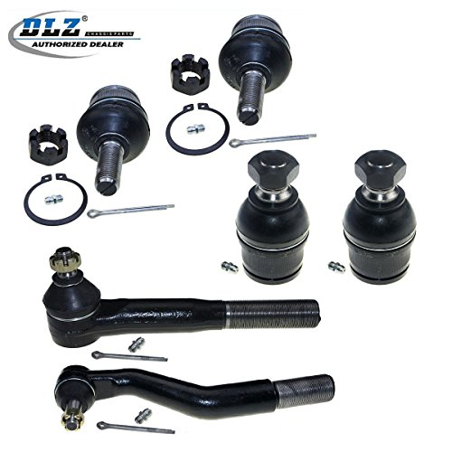 DLZ 6 Pcs Front Suspension Kit-Lower Upper Ball Joint Outer Tie Rod End Compatible with 2000-2005 Ford Excursion 4WD 1999-2004 Ford F-250 F-350 Super Duty 4WD 1999-2002 Ford F-450 F-550 Super Duty (Ford Ball Joint Replacement)