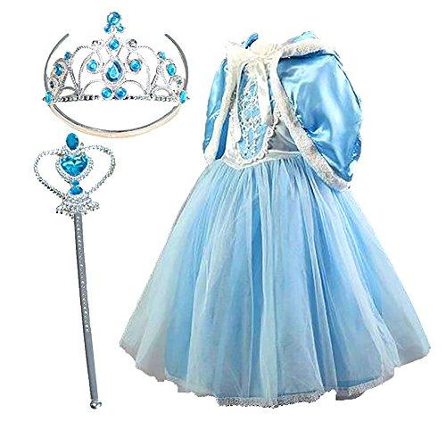 Girls Snow Princess Elsa Costume Dress Party Dress with Tiara , Wand Size 5-6