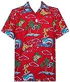 ALVISH Hawaiian Shirt 41 Mens Christmas Santa Claus Party Aloha Holiday Red 2XL