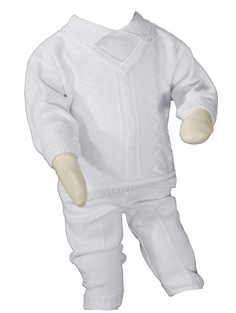 Little Things Mean A Lot Boys 100/% Cotton Knit Two Piece White Christening Baptism Outfit