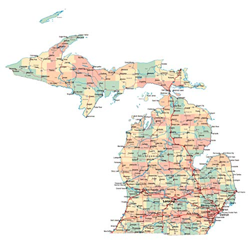 Michigan State Map - Home Comforts Laminated Map - Large Administrative map of Michigan State with Roads, Highways and Cities Poster 24 x 36