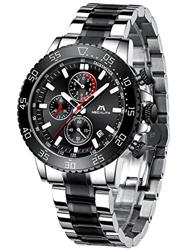 MEGALITH Mens Watches with Stainless Steel Waterproof Analog Quartz Fashion Business Chronograph Watch for Men, Auto…