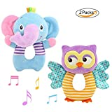 GFun 2 PCS Baby Infant Rattle Toy Soft Animal Plush Handbell Grab Rattle Ring for Newborn Boys and Girls Elephant Owl