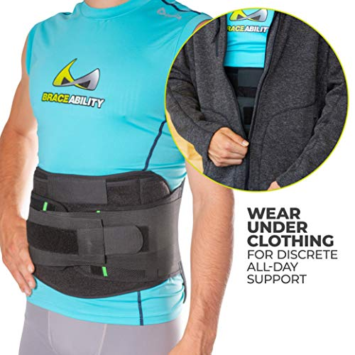 BraceAbility LSO Back Brace for Herniated, Degenerative & Bulging Disc Pain Relief, Sciatica, Spine Stenosis | Medical Lumbar Support Device for Post Surgery & Fractures with Hot/Cold Therapy (S) by BraceAbility (Image #7)