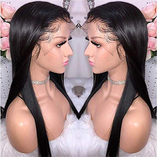 Remy Human Hair Wig - BEEOS 9A 360 Lace Frontal Straight Wig with Baby Hair,Pre Plucked and Bleached Knots,Natural Black Brazilian Virgin Remy Human Hair Wigs (16 Inch)