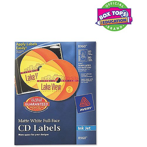 Avery 8960 Full Face CD Labels (Cd Face Labels Full)