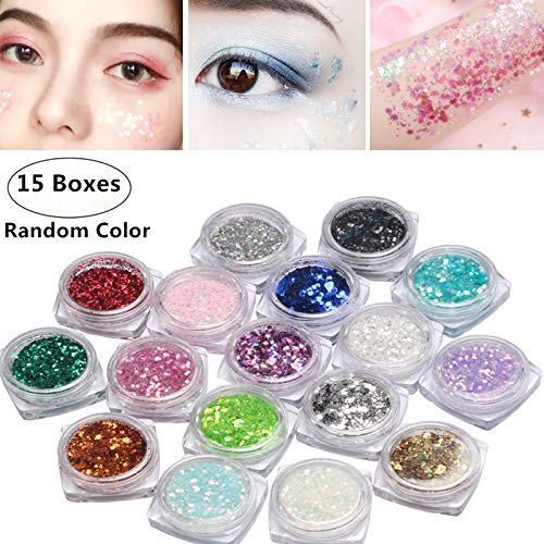 - 15 Boxes Nail Chunky Glitter, Magnoloran Holographic Cosmetic Festival Chunky Glitter Ultra-thin Nail Glitter Sequins Iridescent Flakes Sparkles for Face Nail Hair Eyes Lips or Any Place of Your Body,