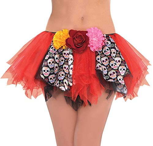 Suit Yourself Day of the Dead Tutu for Adults, One Size up to Women's Size 8, Features Sugar Skull Panels and -