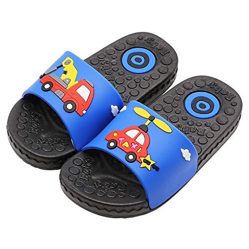 Namektch Boys Girls Summer Sandals, Anti-Slip Slide Lightweight Beach Water Shoes Shower Pool Home Slippers for Toddler Little Kids (9.5 Toddler, Blue Car) (Pvc Slippers)