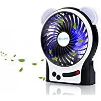 Esup Portable Rechargeable Battery Fan With LED Light, 3 Speeds, for Home Office and Travel, Black