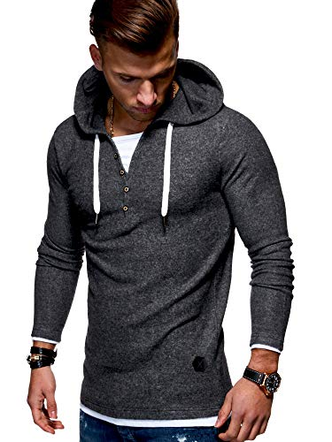 - Behype Men's Sweater Jumper Hoodie Sweatshirt Pullover Longsleeve Henley MT-7437 (Darkgrey,XL)