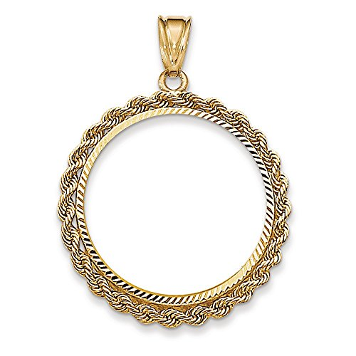 Jewelry Stores Network 14k Yellow Gold Rope Prong 1/2 oz American Eagle Coin Bezel