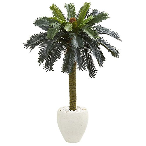 - Nearly Natural 5621 4' Sago Palm Artificial Tree in White Planter, Green