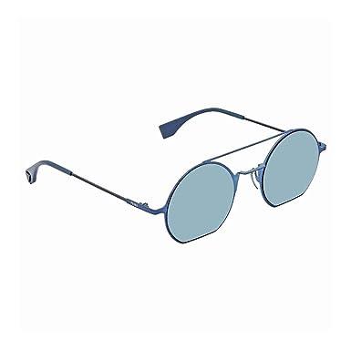 8488e051c Amazon.com: Fendi Eyeline FF 0291 PJP 3J Blue Metal Round Sunglasses ...