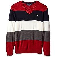 U.S. Polo Assn. Suéter de acrílico rayado, cuello en V, para hombre