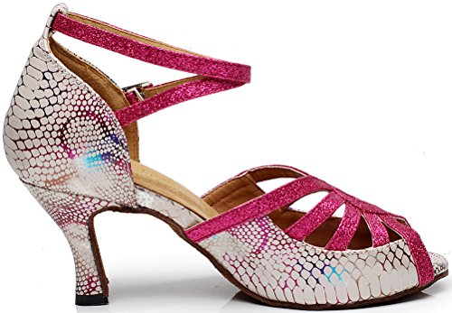 Heel Salabobo Red AQQ Womens Dance Floral Party UK Toe Mid 5 Shoes 1 Wedding PU Peep 5002 Tango 1qUwp1fxz